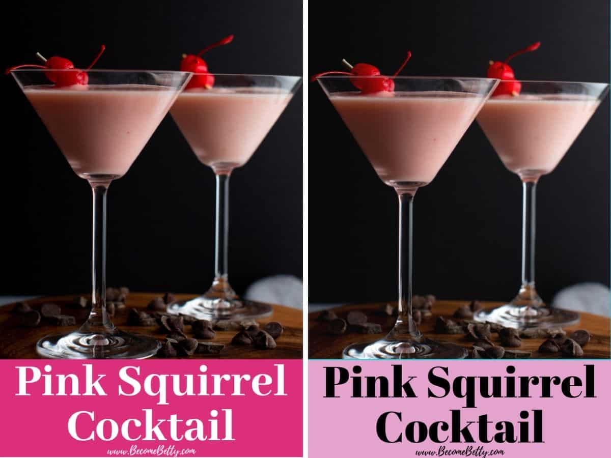 Two sample pins for a cocktail called a Pink Squirrel