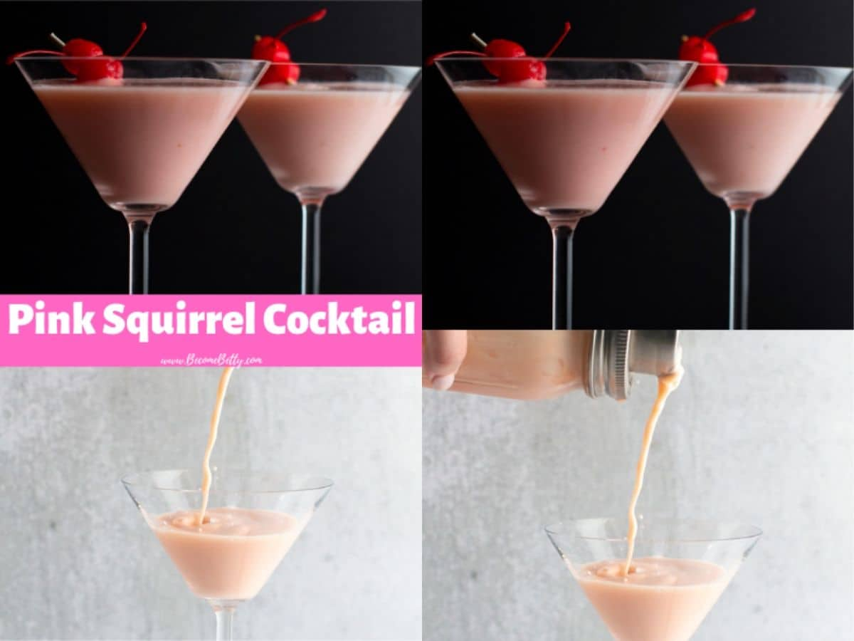Two sample pins for a cocktail called a Pink Squirrel except these are long pins with two images