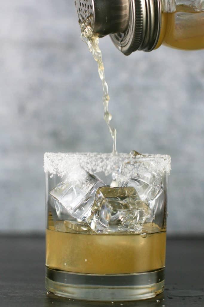 A pour shot of a margarita