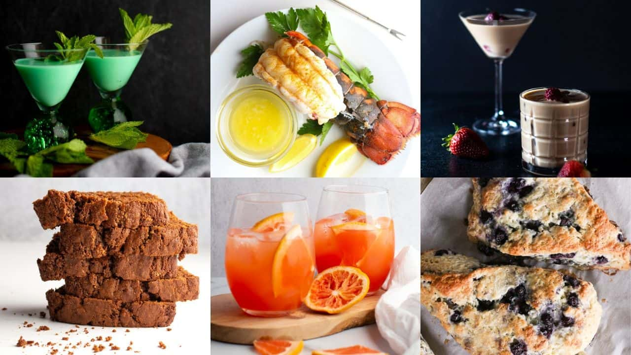 A collage of three cocktails and three dishes