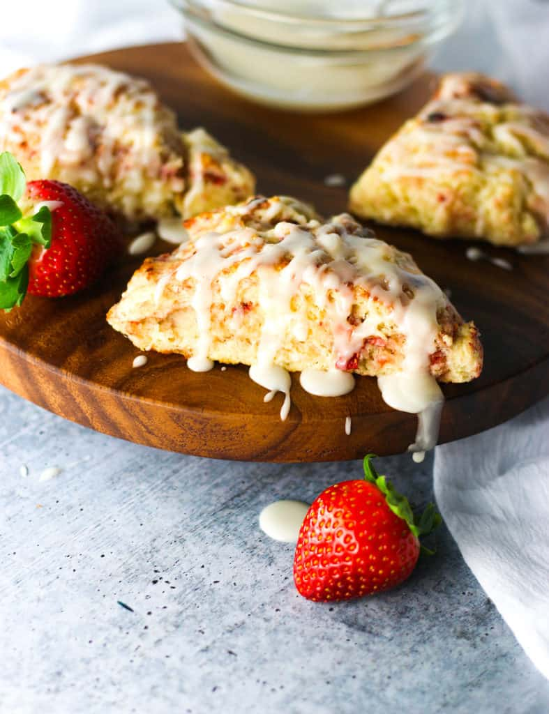 Strawberry Scones on a wooden platter